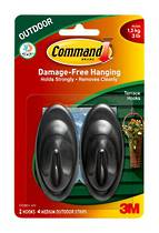 3M Command Adhesive Outdoor Terrace Hooks17086S-AWES Black