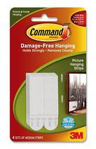 3M Command Adhesive Picture Hanging Strips  Medium 17201 White