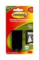 3M Command Adhesive Medium Picture Hanging Strips 17201 Black
