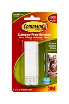 3M Command Adhesive Picture Hanging Strips, Narrow 17207 White