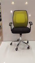 Mesh Office Chairs, Midback with Arms, Chrome Base, Green