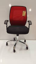 Mesh Office Chairs, Midback with Arms, Chrome Base, Red