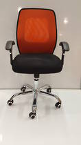 Mesh Office Chairs, Midback with Arms, Chrome Base, Orange