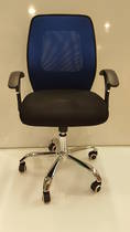 Mesh Office Chairs, Midback with Arms, Chrome Base, Blue