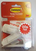 3M Command Adhesive Large Hooks 17003-3