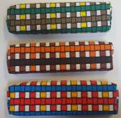Best Buy Pencil bag Square design Beads Brown/Orange