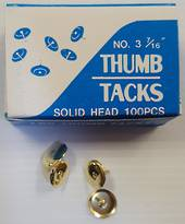 Thumb Tacks, Brass, Metal,  Nr3  7/16