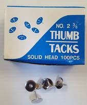 Thumb Tacks,Silver, Metal,  Nr2  3/8
