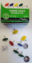 Thumb Tacks, Metal, Assorted Colours  ,Box 50