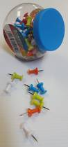 Push Pins, Neon Colours Assorted Jar of 100 Pins