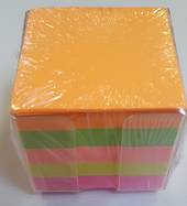 Full Height Memo Cubes, Neon Paper, Clear Perspex holder