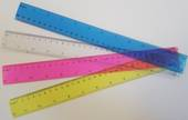Coloured Transparent Rulers 30cm Clear