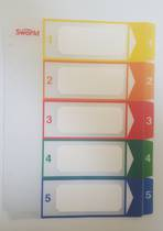 A4 Plastic Tab Dividers, Clear with Coloured Tabs, Numbered 1-5