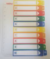 A4 Plastic Tab Dividers, Clear with Coloured Tabs, Numbered 1-10