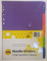 A4 Manilla Tab Dividers, Bright Summer Colours, Blank 5Tab