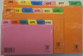 System Index Cards, Multi Coloured, January to December, 6' x 4