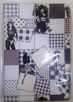 A5  Journal,Yellow pages, ruled,  Black and White Patchwork