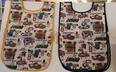 Apron smock for Art and Craft, Teddies with yellow /blue detail