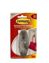 3M Command Adhesive Designer Large Hook Brushed Nickel, 17083 BN