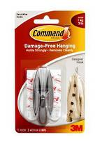 3M Command Adhesive Designer Medium Chrome Hook, 1708