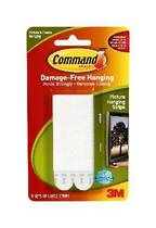 3M Command Adhesive Picture Hanging Strips,Large 17206 White