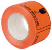 Label on Roll. Glass With Care, 75mmx100mm , 500 Labels