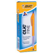 Bic Clic Fine Ballpoint Pens, Pack of 10, Fine Blue
