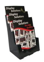 A4  Brochure Holder, 60 Percent Recycled, Free Standing, Wall,3 Tier x 1 Wide, Black,