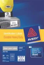 Avery Durable Metallic Heavy Duty Labels, L6008, 189 Labels Per Sheet, 25.4x10mm, 20 Sheets