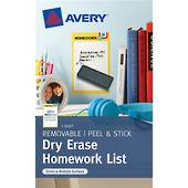 Avery Peel And Stick, Dry Erase Decal Labels, Homework List, 1 Sheet