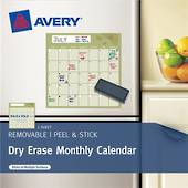 Avery Peel And Stick, Dry Erase Decal Labels, Monthly Calendar, 1 Sheet
