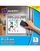 Avery Peel And Stick, Dry Erase Monthly Calendar Sheets, 254x254mm, Pack Of 2