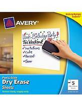 Avery Peel And Stick, Dry Erase White Sheets, 254x254mm, Pack Of 5