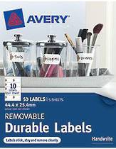 Avery Removable Rectangle Durable Labels, White With Brown Details, 44.4x25.4mm, (50)