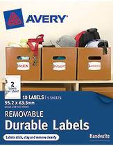 Avery Removable Rectangle Durable Labels, White With Floral Details, 95.2x63.5mm, Pack Of 10