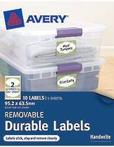 Avery Removable Rectangle Durable Labels, White With Green Border, 95.2x63.5mm, (10)