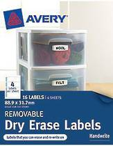 Avery Removable Rectangle Erasable Labels, White With Blue Details, 88.9x31.7mm, Pack Of 16