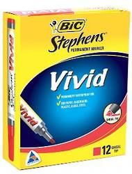 Bic Stephens Vivid Markers, Chisel Tip, Pack of 12, Red
