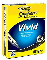Bic Stephens Vivid Markers, Chisel Tip, Pack of 12, Green