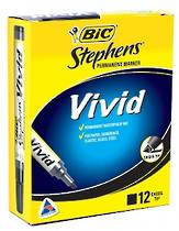 Bic Stephens Vivid Markers, Chisel Tip, Pack of 12, Black
