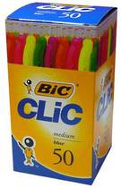 Bic Clic Ballpoint Pens, Multicolour Barrels Pack of 50, Blue