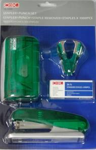Cox Stapler And Punch Set, Transparent Green