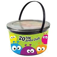 Fun Coloured Jumbo Chalk Bucket, 20 Chalks