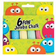 Fun Coloured Jumbo Chalks, 6 Chalks