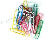 Round Coloured Paperclips, 50mm, 80 In A Tub