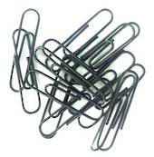 Round Black Paperclips, 50mm, 80 In A Tub