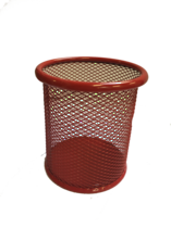 Funky Mesh Pencil Cup Holders Round, Red