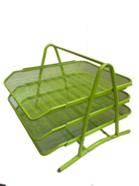 Funky Mesh Document Tray, 3Tier, Lime Green
