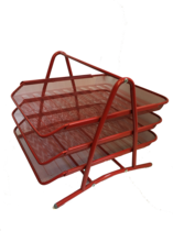 Funky Mesh Document Tray, 3Tier, Red