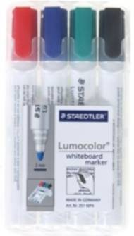 Staedtler Lumocolor Whiteboard Markers, Bullet Tip, Wallet Of 4